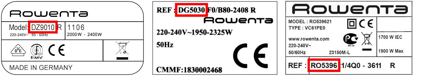 Identifier le modèle d'un appareil Rowenta pour trouver les